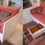 Sofá Cama pino macizo con gavetas